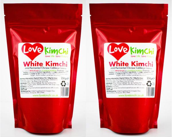 White Kimchi Front Pouch Vegan Vegetarian Plant Based UK Love Kimchi