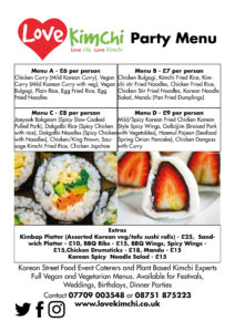 Love Kimchi Party Menu Wedding Birthday Dinner Parties Catering Menu