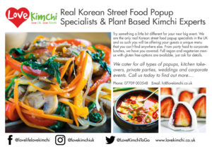 Love Kimchi Classic Kimchi vegan caterer gilded gingerbread popup kpop uk
