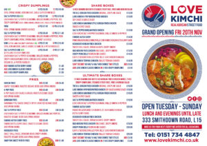 Love Kimchi Menu Korean Fried Chicken Kimchi Salt n Pepper Ramen Wings tacos Smithdown Road Liverpool