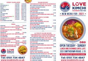 Love Kimchi Menu Korean Fried Chicken Kimchi Salt n Pepper Ramen Wings tacos Smithdown Road Liverpool