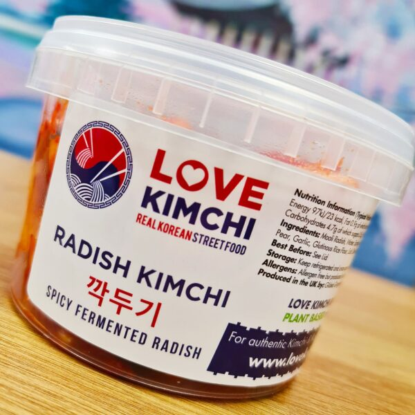 Liverpool Smithdown Road Love Kimchi Radish Kimchi 380g vegan Love Kimchi Classic Kimchi Vegan Korean Food Catering Pop up Plant based Gluten free probiotic